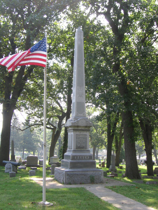 General Nathaniel Baker Monument and Cannons in Woodland