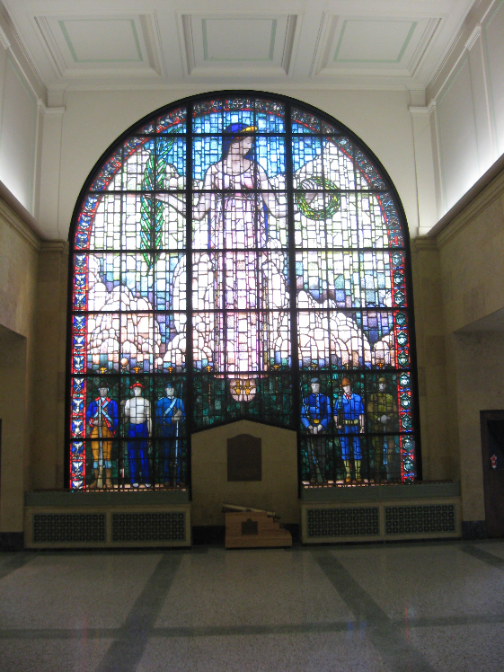 Veterans Memorial Building with Grant Wood Stained Glass Window