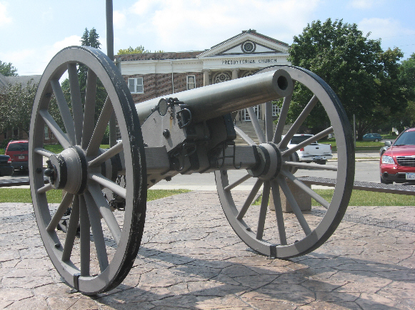 Confederate Cannon, Monument  and Gettysburg Address Plaque