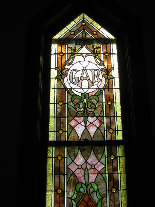 GAR Stained Glass Window at Redfield Methodist Church