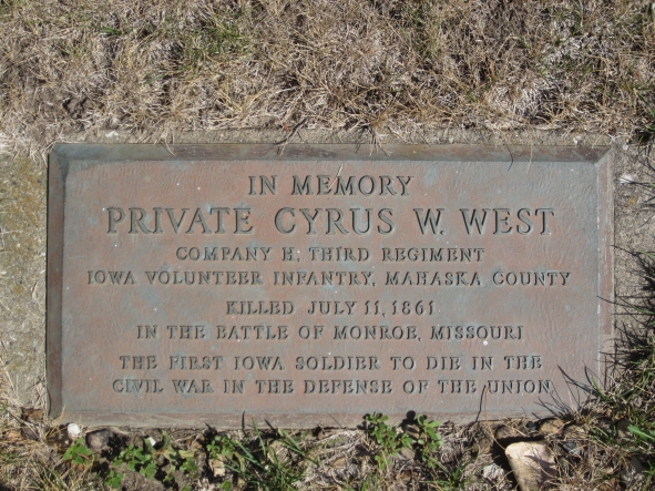 Pvt. Cyrus W. West Plaque at Nelson Pioneer Farm