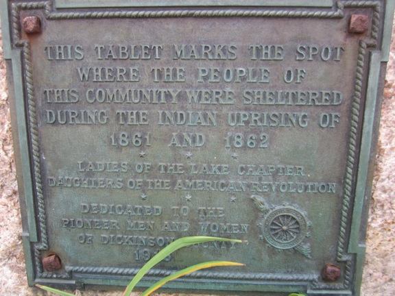 Plaque at location of Spirit Lake Stockade