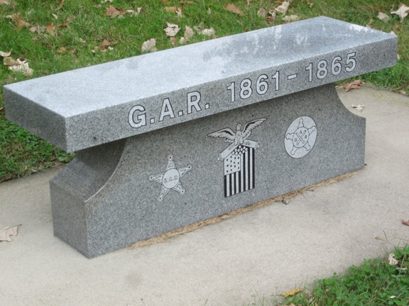 GAR Bench at Woodland Cemetery