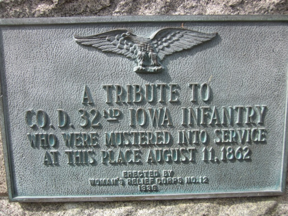 Muster Plaque 32nd Iowa Regiment