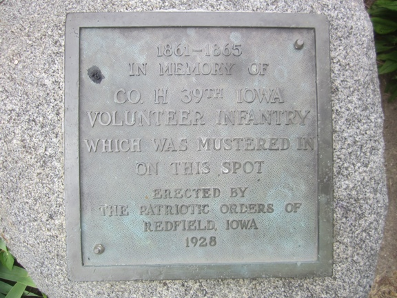 Muster Plaque - Iowa 39th Infantry